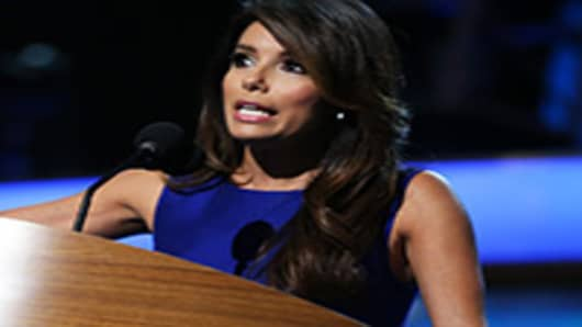 Actress Eva Longoria speaks on stage during the final day of the Democratic National Convention.