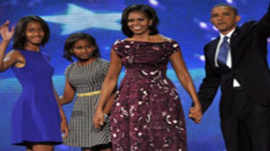 US. President Barack Obama, First Lady Michelle Obama, daughters Malia and Sasha wave after Obama's acceptance speech.