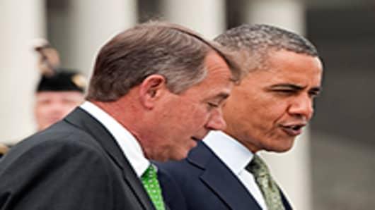 Speaker John Boehner, R-Ohio(L), President Barack Obama (R)
