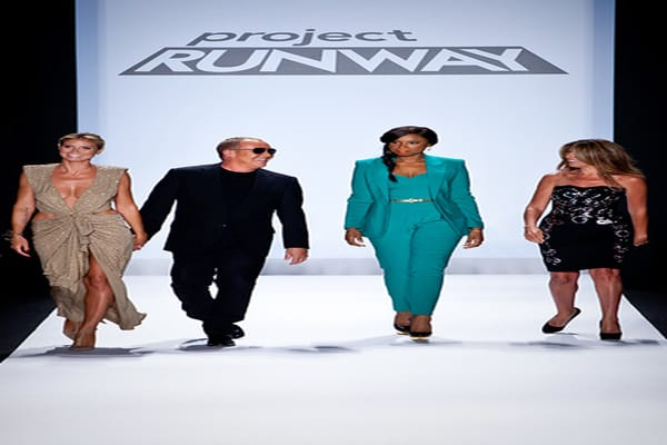 Jennifer Hudson and Project Runway judges Heidi Klum, Nina Garcia and Michael Kors walk down the runway during Project Runway's Fashion Week show on Friday.
