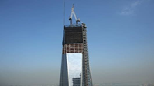 One World Trade Center is viewed from the 72nd floor of Four World Trade Center on September 7, 2012 in New York City.