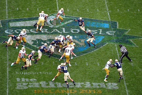 """Average ticket price: $375.26Date: Sept. 1The Fighting Irish """"just have such a wide, good traveling fan base,"""" Matcovich says. The Midshipmen were not the draw so much as the fact that this game was played in Ireland. For American, fans it was an excuse to travel to Ireland, and for the locals, it was a chance to see a significant example of American football up close. About 49,000 people, mostly Americans, went to Dublin and saw Notre Dame sink Navy, 50-10"""