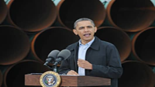 US President Barack Obama speaks on March 22, 2012 at the TransCanada Stillwater pipe yard in Cushing, Oklahoma. Obama spoke about the Keystone XL pipeline and his energy policies.