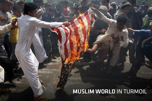 On the 11th anniversary of the Sept. 11 attacks, ,much of the Muslim world was roiled by anti-American demonstrations in the wake of a film – made in the United States – lampooning the Prophet Muhammad, Islam's most sacrosanct figure. Riots broke out at the U.S. Embassy in Cairo. Later that night the U.S. ambassador to Libya, Chris Stevens, was killed, along with three of his staff members during an attack on the consulate in Benghazi.Three days later, protests spread from Morocco to Pakistan an