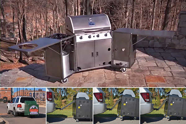 $1,695 + shippingThere are freestanding grills of course (if you must be so old-fashioned), and hitch-mounted grills are very popular, but the 350-pound  is billed as a complete outdoor kitchen. The Eagle 100 grill has a 12,000 BTU propane grill capable of temperatures over 600 degrees, a smoker/ oven, as well as a deep fryer/steamer/burner.