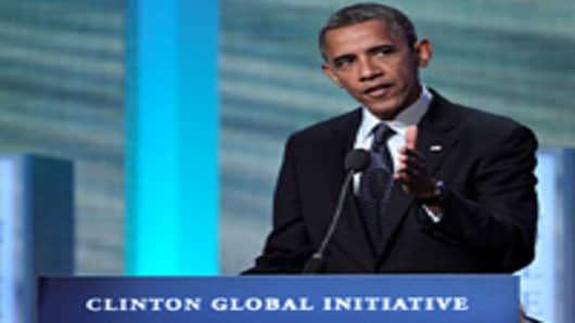 U.S. President Barack Obama speaks during the annual meeting of the Clinton Global Initiative (CGI) in New York, U.S., on Tuesday, Sept. 25, 2012.
