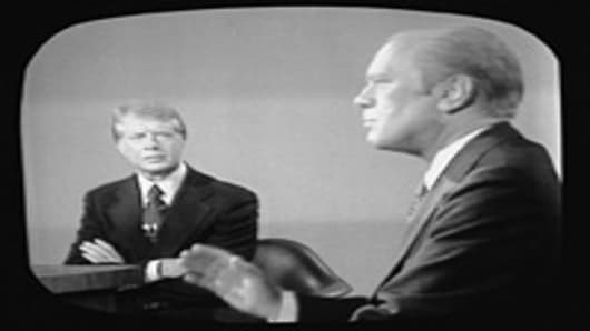 Screen capture shows the second presidential debate between American president Gerald Ford and challenger governor Jimmy Carter of Georgia, San Francisco, California, October 6, 1976. Carter went on to win by a narrow margin.