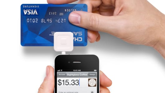 Square app for smartphone credit card swipe.