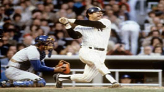 Reggie Jackson in the 1977 World Series.