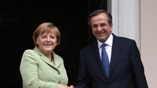 Angela Merkel and Antonis Samaras