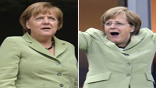 German Chancellor Angela Merkel (L) on October 9, 2012 before a meeting in Athens. Merkel is on her first visit to Greece since the debt crisis erupted almost three years ago. German Chancellor Angela Merkel (R) celebrates after Germany beats Greece in the Euro 2012 football championships quarter-final match Germany vs Greece on June 22, 2012.