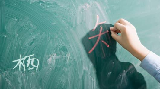 Chinese writing on chalkboard.