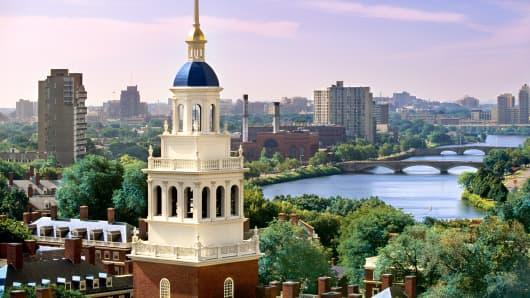 Harvard University skyline.
