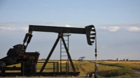Oil derricks in North Dakota pump oil from the Bakken Formation.