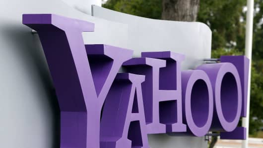 The Yahoo logo is displayed in front of the Yahoo headqarters in Sunnyvale, California.