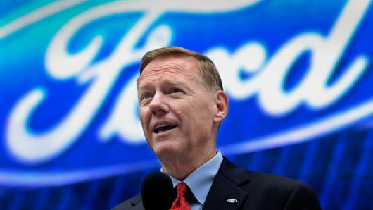 Alan Mulally, president and chief executive officer of Ford Motor Co., speaks during the unveiling of the Ford Fusion in New York, U.S., on Tuesday, Sept. 18, 2012.