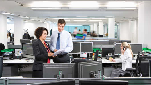 Office workers in open office space