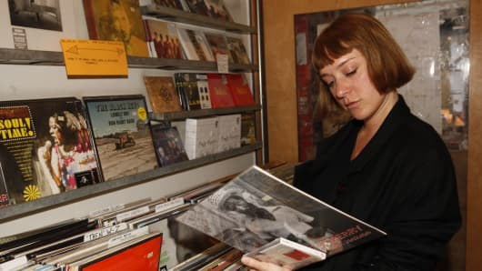 Chloe Sevigny record shopping on small business Sunday.