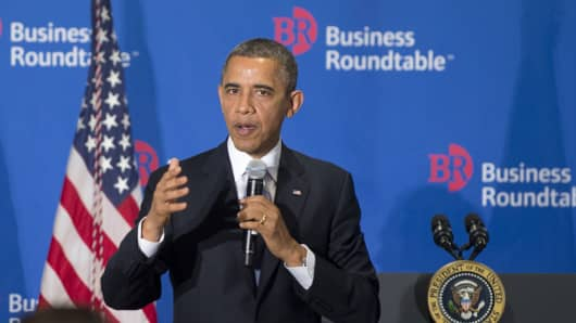 "President Obama speaks on the ""fiscal cliff"" during the Washington Business Roundtable on Wednesday."