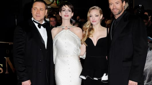 Russell Crowe, Anne Hathaway, Amanda Seyfried and Hugh Jackman attend the World Premiere of 'Les Miserables' at Odeon Leicester Square on December 5, 2012 in London, England.