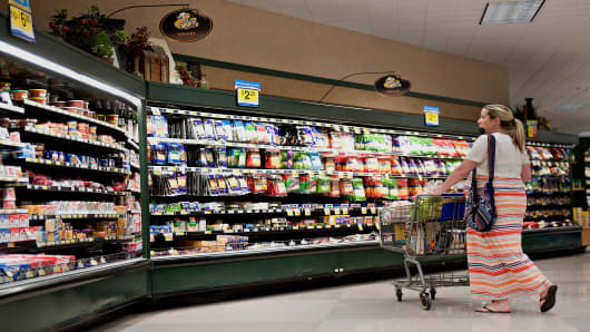Customer shops at a Kroger supermarket in Peoria, Ill.