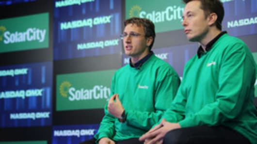 SolarCity CEO Lyndon Rive and Chairman Elon Musk