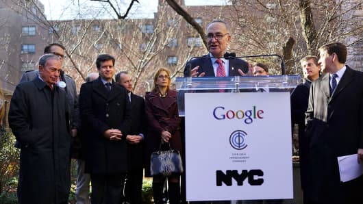 Sen. Charles Schumer speaks during a news conference where it was announced that free Wi-Fi will be provided by Google to the Manhattan neighborhood of Chelsea.