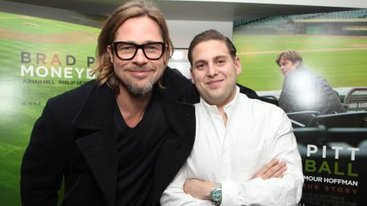Brad Pitt and Jonah Hill star in Moneyball.