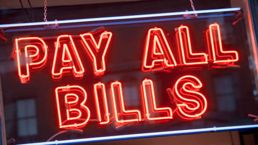 U.S. Debt Pay All Bills neon sign