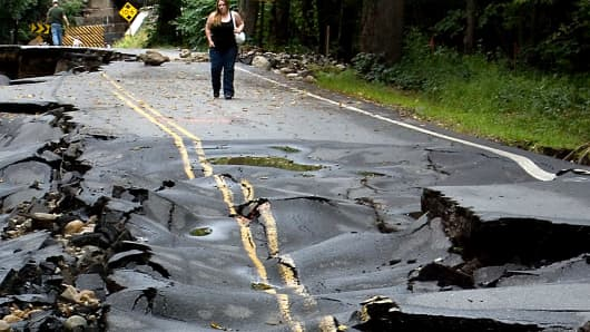 A crumbling road in New Hampshire.