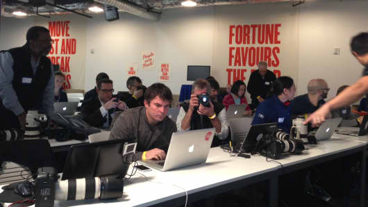 The media area at the Facebook Press Event on January 15, 2013.
