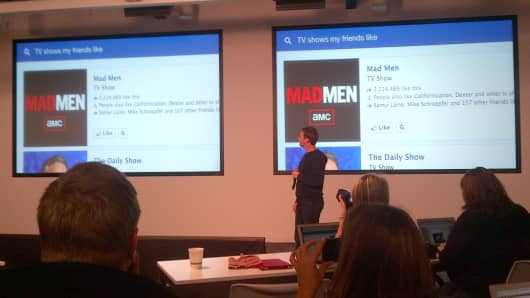 Mark Zuckerberg presents at the Facebook event on January 15, 2012