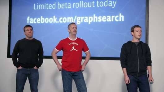 Tom Stocky,  Lars Rasmussen and Mark Zuckerberg introduces Graph Search.