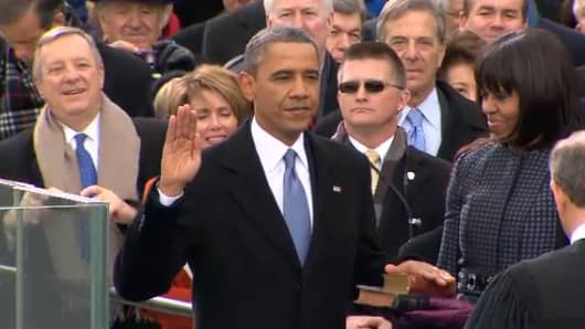 President Barack Obama takes the oath of office on Monday.