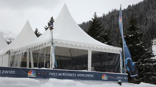 CNBC tent in Davos, Switzerland.