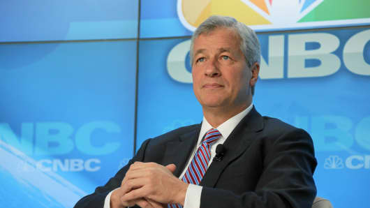 Jamie Dimon listens during a panel discussion on the opening day of the World Economic Forum (WEF) in Davos, Switzerland.