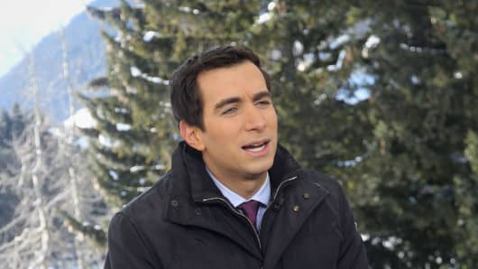 Andrew Ross Sorkin on set at the World Economic Forum in Davos, Switzerland.