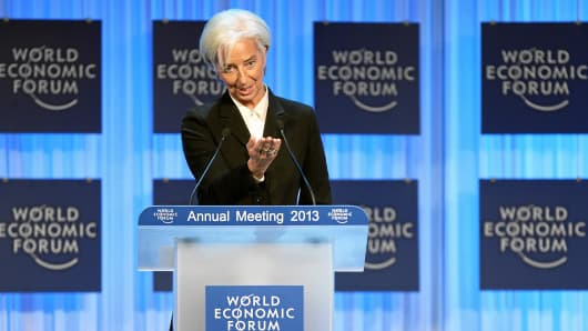Christine Lagarde at the World Economic Forum in Davos, Switzerland.