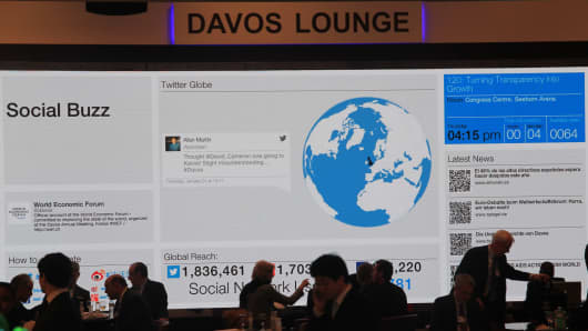 The Social Buzz screen at the Davos WEF lounge.