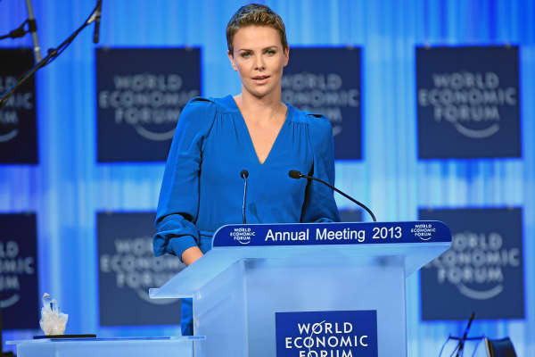 Charlize Theron at the World Economic Forum in Davos, Switzerland.