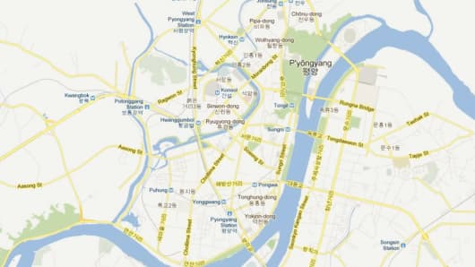 A map of Pyongyang, the capital of North Korea, after the addition of crowd-sourced data.