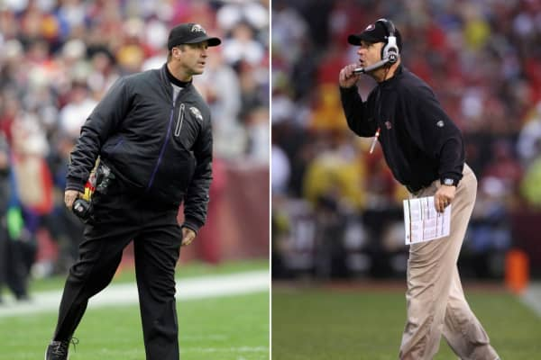 In this composite image a comparison has been made between head coach John Harbaugh of the Baltimore Ravens (L) and his brother Head coach Jim Harbaugh (R) of the San Francisco 49ers.