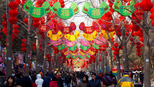 A scene of the Chinese New Year decorations in China.