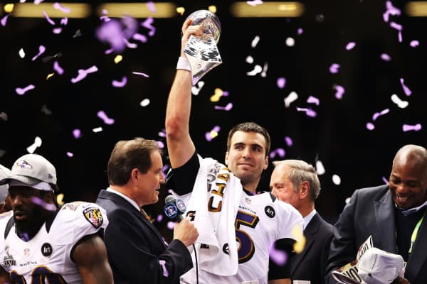 Super Bowl MVP Joe Flacco #5 of the Baltimore Ravens celebrates with the Vince Lombardi trophy after the Ravens won 34-31 against the San Francisco 49ers during Super Bowl XLVII.