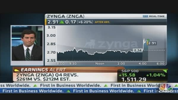 Zynga Earnings Out, Stock Up