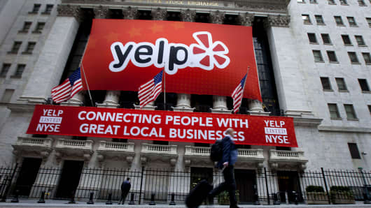 Yelp's banner on the New York Stock Exchange on IPO day,  March 2, 2012.