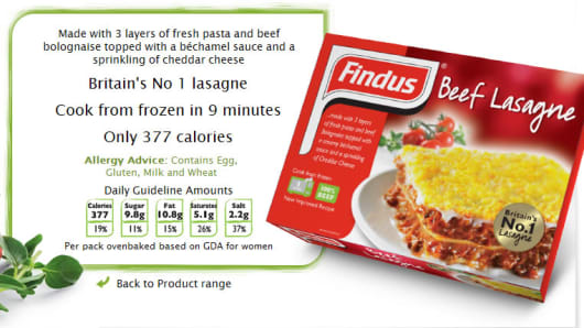 Findus Beef Lasagne found to contain 60 percent horse meat.