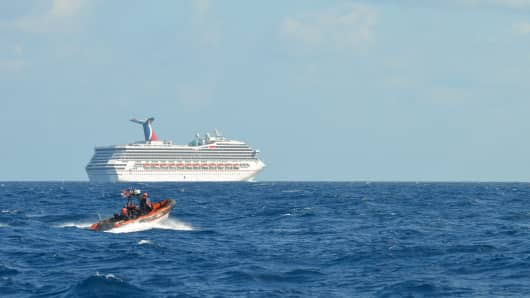 The cruise ship Carnival Triumph sits idle February 11, 2013 in the Gulf of Mexico.