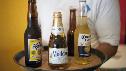 A collection of Grupo Modelo SAB beers.