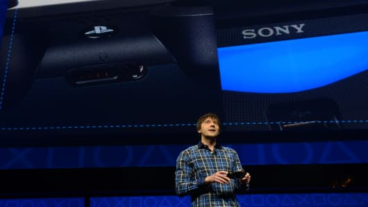 Sony video game designer Mark Cerny speaks as Sony takes wraps off  PlayStation 4 in New York.